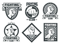 Fighting club mma lucha libre vintage vector emblems labels badges logos. Fighting club mma lucha libre vintage emblems labels badges logos with man fist. Vector Royalty Free Stock Images