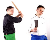 Fighting Cooks Stock Photos
