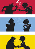 Fighting couple. Cartoon of fighting couple, weather icons symbolise temper Stock Photo