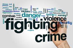 Fighting crime word cloud concept on grey background.  stock photos