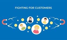 Fighting for customers vector flat illustration stock illustration