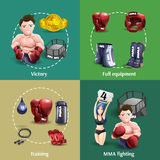 fighting 4 3d icons square Royalty Free Stock Image