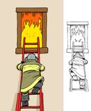 Fighting a demonic fire. Fireman climbing a ladder to fight a fierce fire, comes with bonus black outline version stock illustration