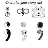 Fighting depression symbol, semicolon variations Stock Images
