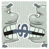 Fighting for dollar. Conflict of two greedy men biting a dollar sign with big teeth Stock Photos