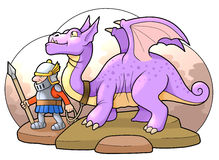 Fighting dragon. Knight and his fighting dragon guard Stock Image