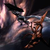 Fighting dragons. 3D rendered fighting dragons on the sky Royalty Free Stock Image