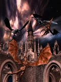 Fighting dragons. 3D rendered fighting dragons on the sky Royalty Free Stock Images