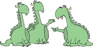 Fighting Dragons. This illustration that I created depicts three arguing dragons Royalty Free Stock Images