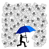 Fighting the Email Flood. Humorous concept sign of the daily flood of e-mails at the workplace or in social media Royalty Free Stock Photography