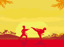 Fighting an enemy near the beach when the sun goes down Royalty Free Stock Image