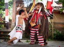 Fighting with evil demon Rangda Bali Indonesia Stock Image
