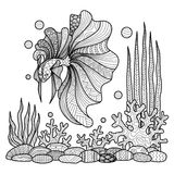 Fighting fish drawing for coloring book. Royalty Free Stock Photography