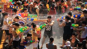 Water Fight  On Songkran  Festival.Shooting for fun. Fighting for fun. Tourist happy with splash water on songkran day or thai new year famous local traditional Stock Photography