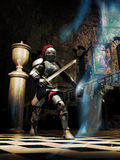 Fighting ghosts. Knight inside a castle, facing a ghost Royalty Free Stock Photos