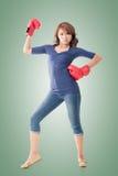Fighting girl concept Stock Photos