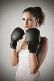 Fighting girl Stock Photo