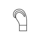 Fighting gloves outline icon. In side view Stock Photo