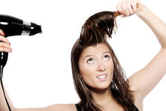 Fighting with hair Stock Images