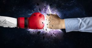 Fighting hands with storm explosion. Two hands fighting with storm explosion conceptn royalty free illustration