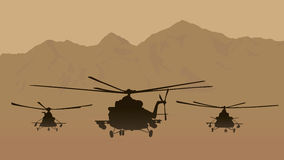 Fighting helicopters in attack. Illustration, fighting helicopters in attack Royalty Free Stock Photo