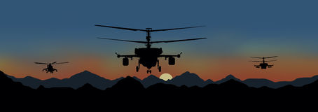 Fighting helicopters in attack. Illustration, fighting helicopters in attack Stock Photos