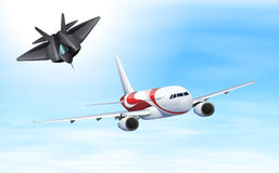 Fighting jet and airplane flying in sky. Illustration Stock Images