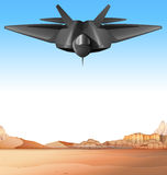 Fighting jet flying over the battle field. Illustration Royalty Free Stock Photography