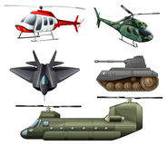 Fighting jetplane, choppers, cannon and tank. Illustration of the fighting jetplane, choppers, cannon and tank on a white background Royalty Free Stock Images