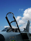 Fighting Jets. Military jet canopy and cockpit showing ejection seat Stock Photos