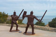 Fighting knights in Castle of Santa Barbara in Alicante. Spain royalty free stock photo
