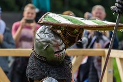 The knights fighting. Fighting knights at the knight festival royalty free stock images