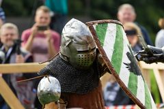 The knights fighting. Fighting knights at the knight festival royalty free stock photos