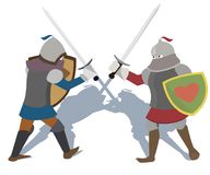 Fighting knights vector cartoon. Knights of early Middle Ages fighting  with swords - vector cartoon Stock Photo