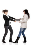 Fighting for a laptop. Two young women Fighting for a laptop, isolated on white Royalty Free Stock Images
