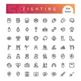 Fighting Line Icons Set. Set of 56 fighting line icons suitable for web, infographics and apps. Isolated on white background. Clipping paths included vector illustration