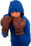 Fighting man in boxing gloves Royalty Free Stock Photos