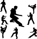 Fighting man illustration. Illustration with fighting man silhouettes isolated on white background Stock Images