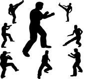 Fighting man silhouettes Stock Photos