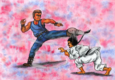 Fighting Martial Artists Men (The Power of Martial Arts, 2014) Royalty Free Stock Image