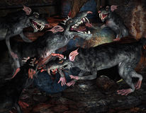 Fighting monsters rats. 3d rendering of a group rats as illustration in comic style Royalty Free Stock Photo