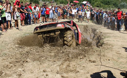 Fighting in mud hole. Off-Road Race held on 31.07.2011 in Gavrailovo, Bulgaria. See the photo № 14- Ivan Popov from Samokov Stock Image
