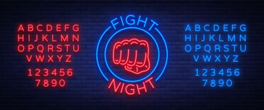 Fighting night logo neon sign  vector illustration. Neon banner, night glowing emblem advertisement. Editing. Text neon sign. Neon alphabet Stock Image