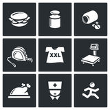 Fighting obesity organism icons set. Vector Illustration. Royalty Free Stock Image