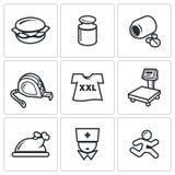 Fighting obesity organism icons set. Vector Illustration. Stock Photos