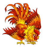 Fighting orange-red rooster on white. Fighting orange-red rooster on a white background. A symbol of the Chinese new year 2017 according to east calendar Royalty Free Stock Photography