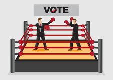 Fighting it Out for Voting Candidates Cartoon Vector Illustration. Creative vector illustration on concept of election candidates fighting it out to win votes vector illustration