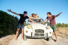 Fighting over directions in vacations Royalty Free Stock Photography