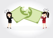 Fighting over money. Business woman fight over for dollar money Royalty Free Stock Photography
