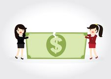 Fighting over money. Business woman fight over for dollar money Royalty Free Stock Image